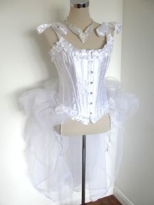 White Corset with Sparkle Tulle Netted Bustle - Stardust